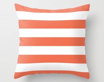 Stripes Pillow with insert - Striped Pillow - Nautical Coral and White Stripes Pillow with insert - Modern Throw Pillow - Home Decor -