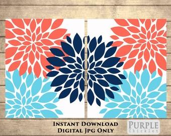 "Flower Bursts Blossoms Botanical Navy Coral Aqua Printable Art 2 -8"" x 10"" // Digital Fine Art Modern Wall Art Set Printable Home Decor(116)"