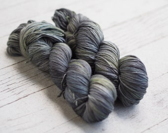 Black Quartz Grey Black and Green Hand Dyed Yarn // Merino Nylon Sock Fingering Weight Yarn // Superwash Sock Skein