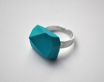 Turquise | Geometric ring | minimal | polymer geode cut | edgy urban ring | industrial architecture | all colors