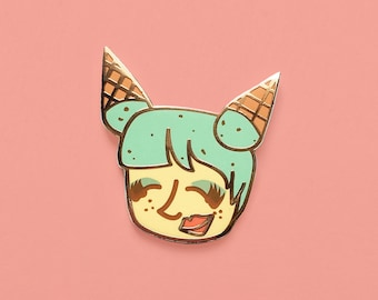 Mint Chocolate Chip Chick Enamel Pin | Ice Cream Pin, Lapel Pin, cool girl, backpack pins, pingame, ice cream socialite, summer pin