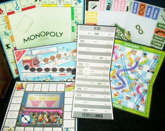 6 Vintage Game Boards Monopoly, Geckopoly, Oreo Cookie Factory, Chutes and Ladders, Name that Word, Class