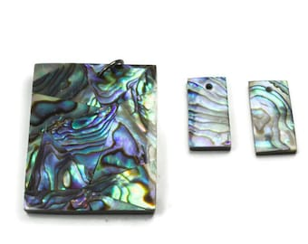 Paua Shell Necklace and Earring Set, Ready to Make, Rectangle Paua Shell Focal, Abalone Pendant, 3 Pieces