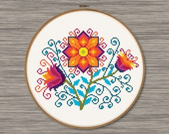Colorful Flowers  - PDF Cross Stitch Pattern