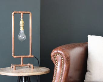 Copper Lamp Handmade Industrial Table Lamp, Metal, Vintage, Retro, Copper Pipe, with Edison Bulb