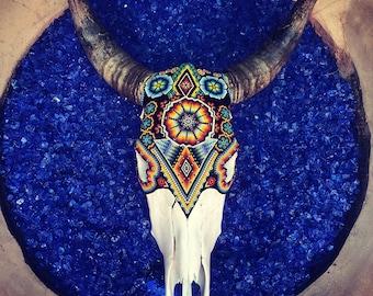 Hand Made Huichol Beaded Cow skull
