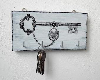 Small wall key holder key, key hooks white, key holder for wall, wall key holder, key rack, key organizer, wall key rack, rustic key holder