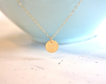 Gold Necklace, Dainty Gold Necklace, Gold Disc Necklace, Tiny Gold Necklace, Bridesmaid Necklace, gifts for her girlfriend gifts best friend