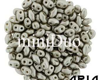 PASTEL COCOA: MiniDuo Two-Hole Czech Glass Seed Beads, 2x4mm (10 grams)