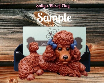 Red / Dark Apricot Poodle Dog with bows Business Card / Cell Phone / Post It Note Holder OOAK sculpture by Sally's Bits of Clay