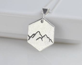 Sterling Silver Hexagon Mountain Necklace