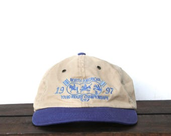 Vintage 90's North American Young Riders Championship Horses Equestrian Unstructured Strapback Hat Baseball Cap