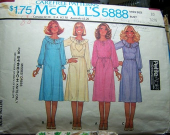 Vintage 70's Pullover Dress Sewing Pattern McCall's 5888  Size 10 Bust 32 Complete