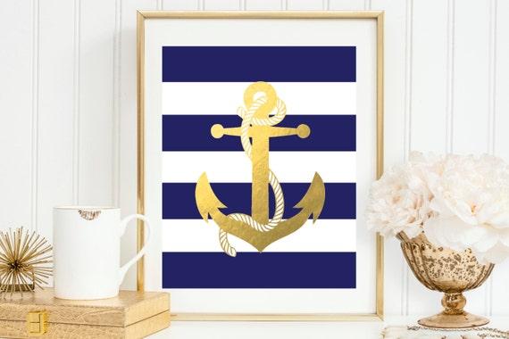 Navy and Gold Anchor Wall Decor Nautical Sign