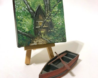 Forest Shrine - miniature painting, small painting, mini painting, tiny painting, oil painting