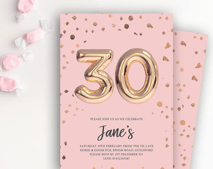 Featured listing image: 30th Birthday Printable Rose Gold Balloon Invitation & Pink