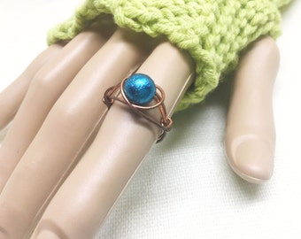 Copper ring, size 6.5, dark teal