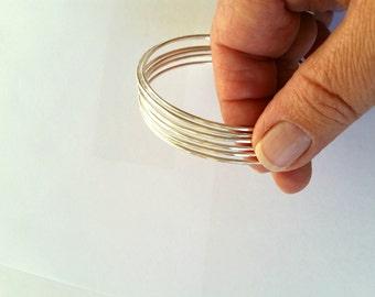 Skinny Sterling Silver Bangles Set - Stacking Bracelets - Hammered Shiny Finish Round Stack Stackable - Minimalist Bangles Bracelets 2mm