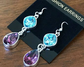 Blue and Purple earrings made with Swarovski Crystal and Sterling Silver