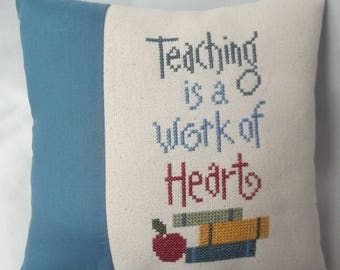 Teacher Cross Stitch Mini Pillow Teacher gift