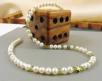 """Golden Starlet and Pearl Necklace with Peridot Gems - """"Storytime"""""""