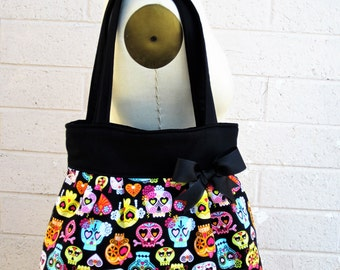 Sugar Skull Handbag, Skull Purse, Day of the Dead Purse, Fabric Tote Bag