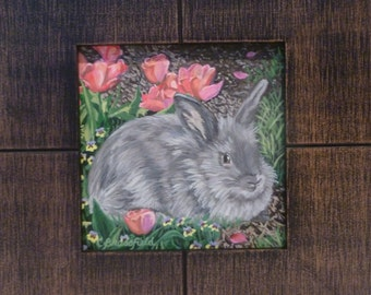 Beautiful painting of a rabbit in a garden, framed, suitable for tabletop or hanging