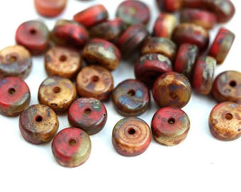 Red Picasso Rondelle beads, Earthy colored 6x3mm pressed czech glass spacers, mixed color rondels - 40Pc - 2920