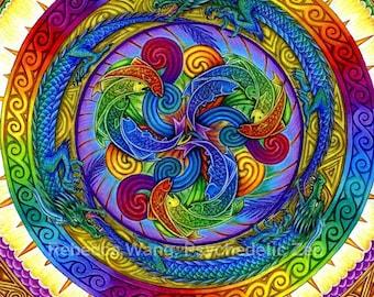 Epiphany Psychedelic Dragons Mandala Giclée Fine Art Print