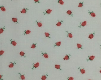 Pink Rosebud Cotton Fabric / Pink Cotton Calico / Rosebud Fabric / Cotton Rosebud Fabric / Pink Floral Fabric / Cotton Quilting Fabric