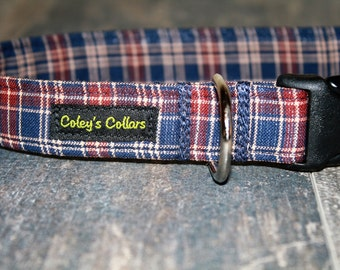 "Dog Collar, Dog Collars, Custom Dog Collar, Boy Dog Collar, Male Dog Collar, Girl Dog, Plaid Dog Collar, Preppy Dog Collar,  ""The Porter"""