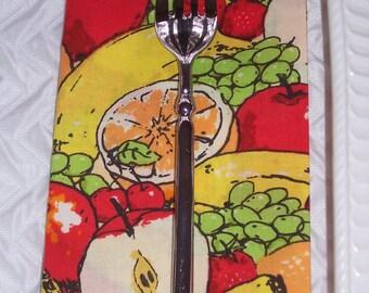 Serviette | Lot de 4 | Bande dessinée de fruits | Serviettes en tissu | Serviettes de cuisine | Boîte à lunch serviette de table