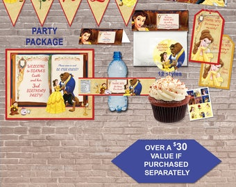 Beauty and the Beast PARTY PACKAGE/ Instant Download & Editable / Party / Invite / Stickers / toppers / favors / banner / label / PRINTABLE