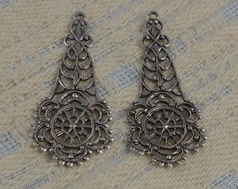 LuxeOrnaments Large Antique Sterling Silver Filigree Ornate Pendant (Qty 2) 43x19mm S-9096-S