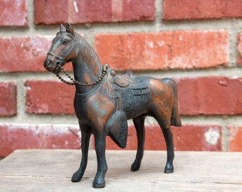 "Vintage Cast Metal Horse figurine 6"" Equestrian Decor"
