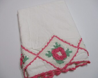 Vintage Embroidered Pillowcase Single-Floral-Pink Crochet Rose-Cottage Chic