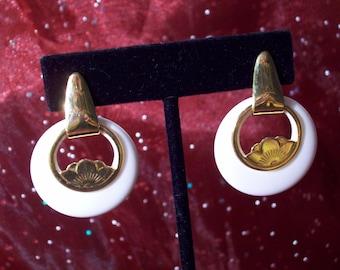 Vintage Gold Lotus Flower Hoop Earrings