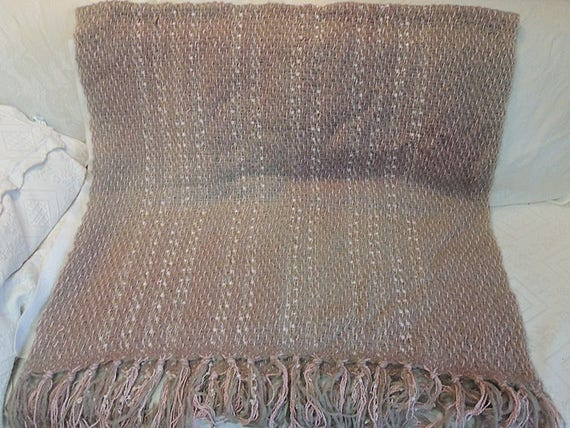 Vintage Woven Mohair Ombre Throw Blanket.. Rose, Grey & Cream.. HUGGE!