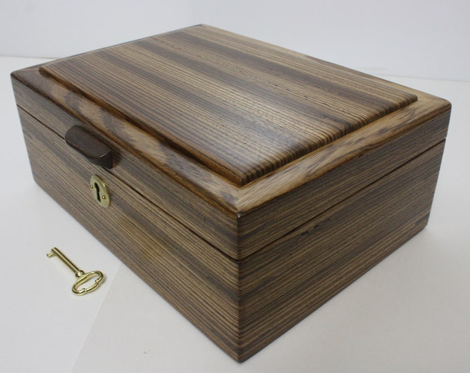 Handmade Wood Box. Locking Zebrawood Valet Box, Keepsake Box, Pistol Gun Box, Secretary Box, Lift Out Tray, Adjustable Removable Dividers