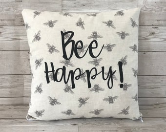 Bee Cushion Cover, Bee, Bee Happy, Cushion Cover, Bumblebee