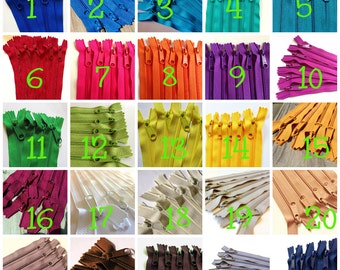 14 inch Handbag zippers with long pull, Choose 50 pcs, blue, green, orange, yellow, mustard, purple, wine, teal, camel, navy, white...