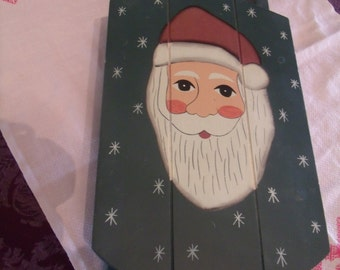 Decorative Sleigh with Santa Claus Face, handpainted, (# b5)