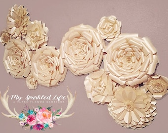 Paper Flowers Wall Decor - Wedding Decor - Home Decor - Paper Flower Backdrop - Champagne -  Paper Flowers - Photo Shoot - Backdrop