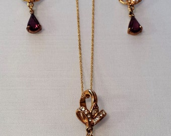 Violet Amethyst  Pendant Necklace and earrings with faux diamonds
