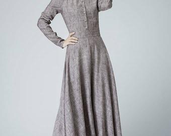long sleeve dress, Linen Dress, women linen dress, long linen dress, V neck dress, vintage inspired dress, Custom dress, button dress 1456