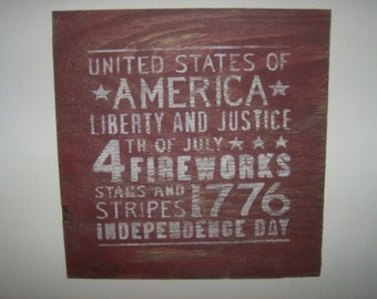 Distressed vintage look 4th of July subway style sign/Red white blue/holiday/Americana