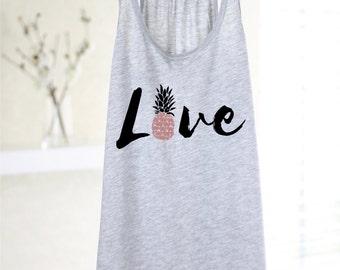 Love Pineapple Tank - Pineapple Shirt - Women's Graphic Tank Top - Yoga Tank - Yoga Top - Pineapple Print - Pineapple Lover - Gift For Women