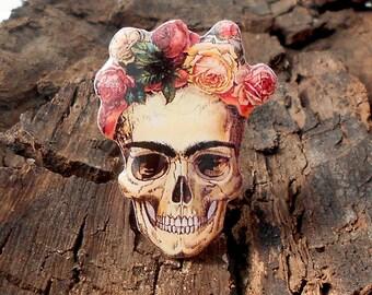 Day of the dead, Frida Kahlo, skull Frida Kahlo, Frida, pin Frida, Frida jewelry, Frida brooch, clay Frida, skull wreath