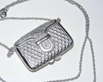 Vintage ESTEE LAUDER Solid PERFUME Compact Purse Pendant Necklace