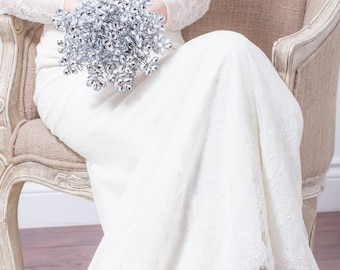 Mariage Bouquet - Bouquet de la mariée de fleurs en argent - fleur mariage Bouquet - Bouquet argent, broche fabuleux Bouquet Alternative